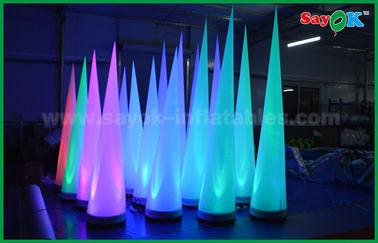 Cina Colorful Pencahayaan Tahap Dekorasi Inflatable Cone Untuk Klub / Promosi pemasok