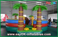 Cina 0.55mm PVC terpal Inflatable Bouncer Slide / Renang Dengan Coconut Tree Anti - UV pabrik