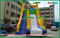 Cina Funny / Safety PVC Tarpaulin Inflatable Bouncer Geser Warna Kuning / Biru Untuk Bermain pabrik