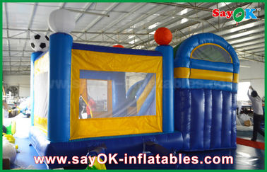4x3m kecil Inflatable PVC Bounce Puri Slider Dengan Football Decoratiionn