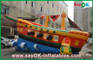 Kapal Pirates Yellow / Red / Blue Inflatable Commercial Advertising Castle Bounce House