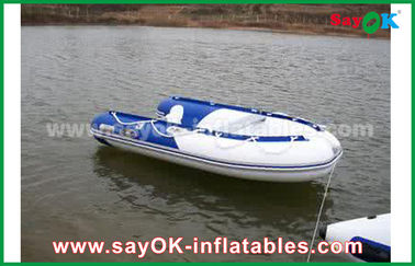 Biru / Putih Panas Sealed PVC Inflatable Boats Air Racing Rigid Waterproof