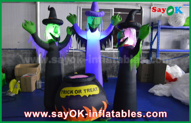 210D Oxford Cloth Inflatable Scary Ghosts dan Magic Jar dengan LED Lighting untuk Halloween