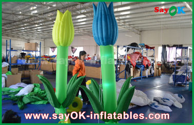 Oxford Cloth Custom Inflatable Products, LED Inflatable Double Flower Untuk Dekorasi Tahap