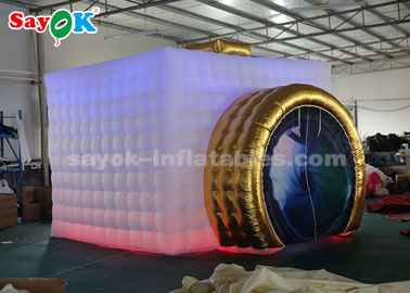 3.5 * 2.8 * 2.5 m LED Light Portable Photo Booth Inflatable Putih Dan Warna Emas