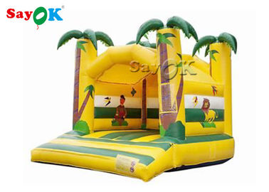 Cina Jungle Animal Theme Yellow Inflatable Bouncy Castle Dengan Digital Printing pabrik