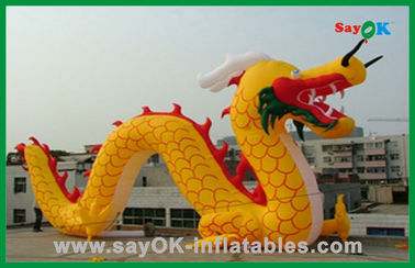 Kustom Yellow Inflatable Chinese Dragon Inflatable Kartun Karakter Untuk Aktivitas