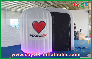 Putih bulat Inflatable Photobooth 210D Oxford Kain Dan LED Light